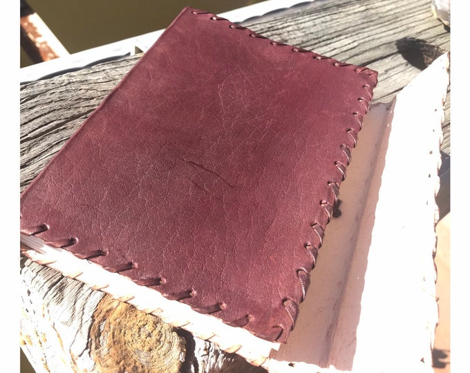 Brown Leather Handmade Journal Diary - Raw Blank Book Notebook for Writing or Sketch - Renaissance Medieval Leather Journal 5x5 inches A84