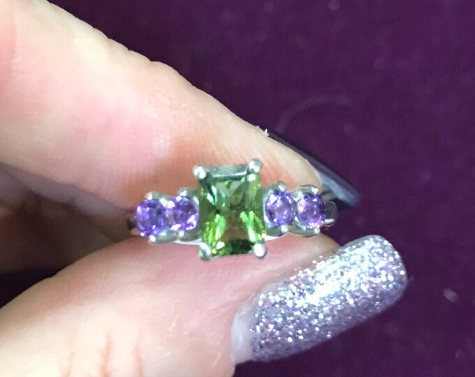 Faceted MOLDAVITE and AMETHYST Ring 925 Silver or 14kt Gold - sizes 4 5 6 7 8 9 10 11 12- Healing Crystal for Personal Evolution HM734