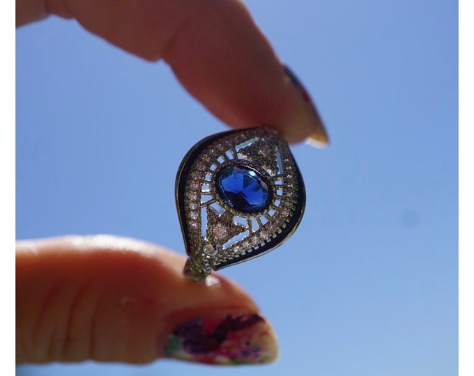 Evil Eye Ring Many Sizes Evil Eye Jewelry - This Healing Crystal has an intention to protect you from Negative Energies B2