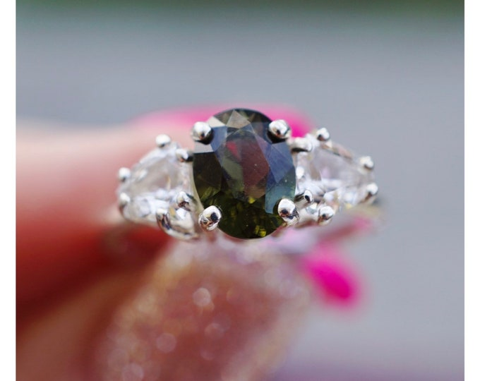 Faceted Danburite Moldavite Ring - 925 Silver 9x7mm Oval all sizes 4 5 6 7 8 9 10 11 12 - This Healing Crystal can transform your life M634