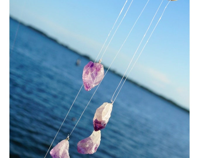 """Handmade Amethyst Windchime w  Five 1.5"""" Amethyst Points or With Citrine and Quartz Brazil - Healing Crystal Hanging grid - Crystal Mobil"""
