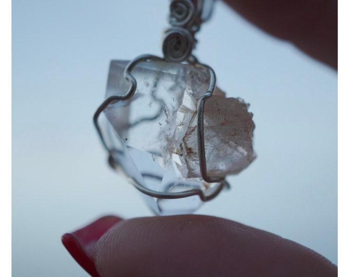 Raw Manifesting Quartz Pendant 925 Silver Wire Wrap (A RARE ocurance when a crystal grew inside another crystal) 8g 35mm WWD18