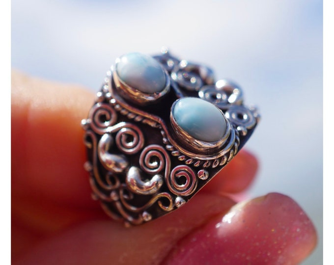 Polished Blue LARIMAR Ring - Blue Crystal Ring SIZE 7 - 925 Sterling Silver - This Healing Crystal can Defuse Anger and Bring Calm JA72