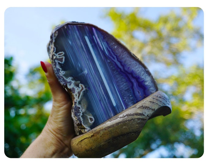 "Purple AGATE Lamp with bulb & cord - Avg Hight 6-9"" - With or Without Wood base - This Healing Crystal can help you adjust to change L88"