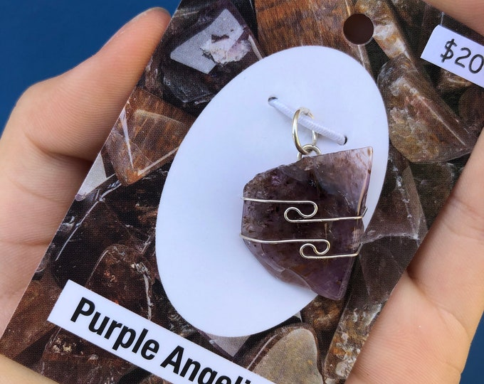 Purple Angeline Super 7 Pendant 925 Silver Wire Wrap - This Healing Crystal can Awaken your Destiny and Harmonize with your Path HX376