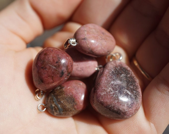 """Tumbled RHODONITE minimalist pendant 1/2-1"""" - This Healing Crystal can give you the frequency of Love & Peace"""