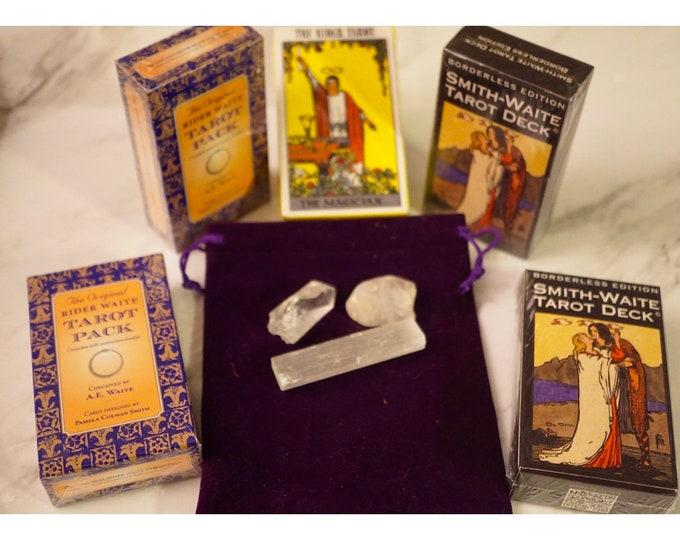 Vintage SMITH WAITE Tarot Cards Kit - Centennial Edition Borderless Radiant Rider Deck - 78 Card Deck, Guidebook, 3 Crystals and Tarot Bag