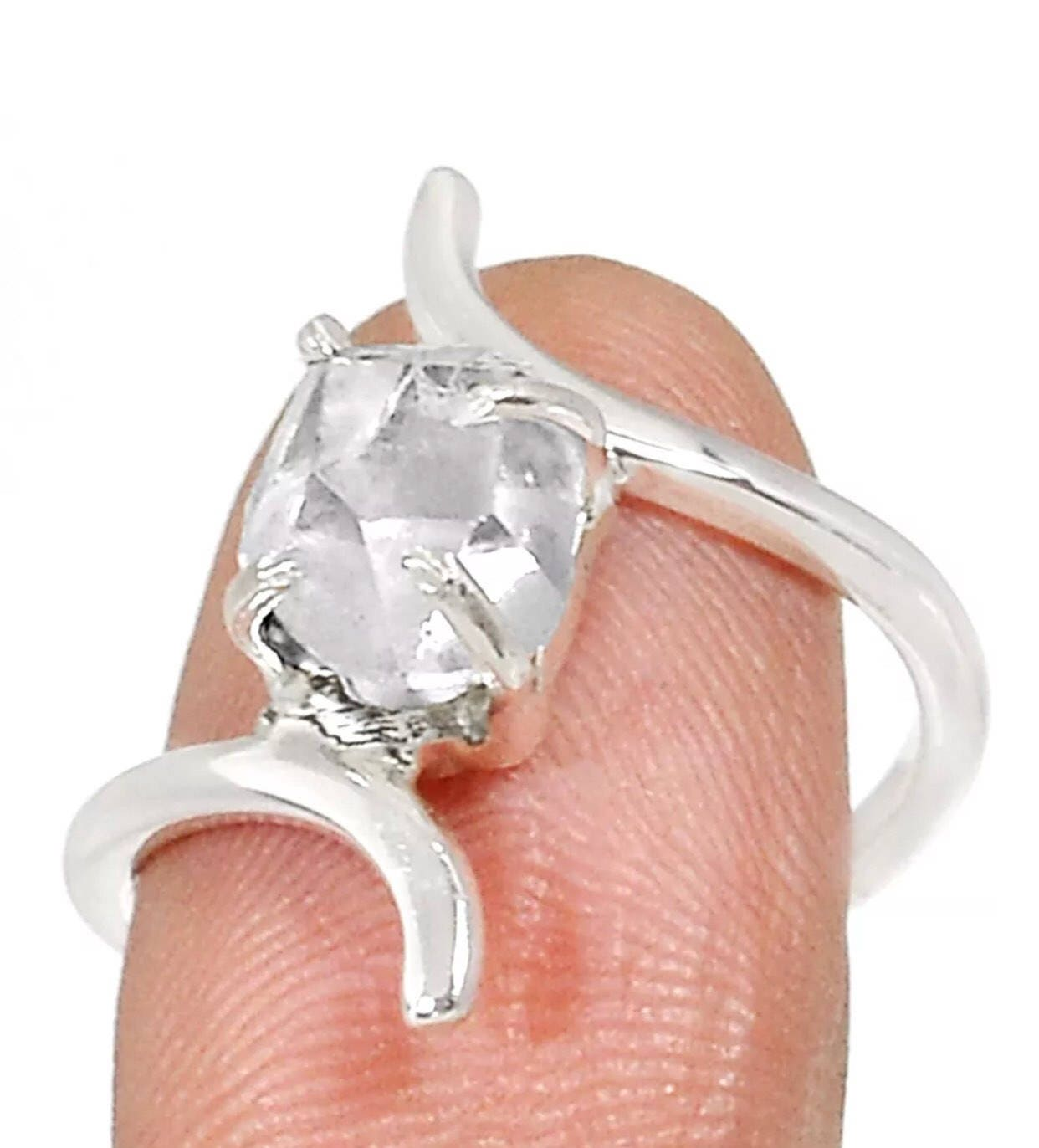 High Quality Herkimer Diamond Poison Ring set in 925 Silver