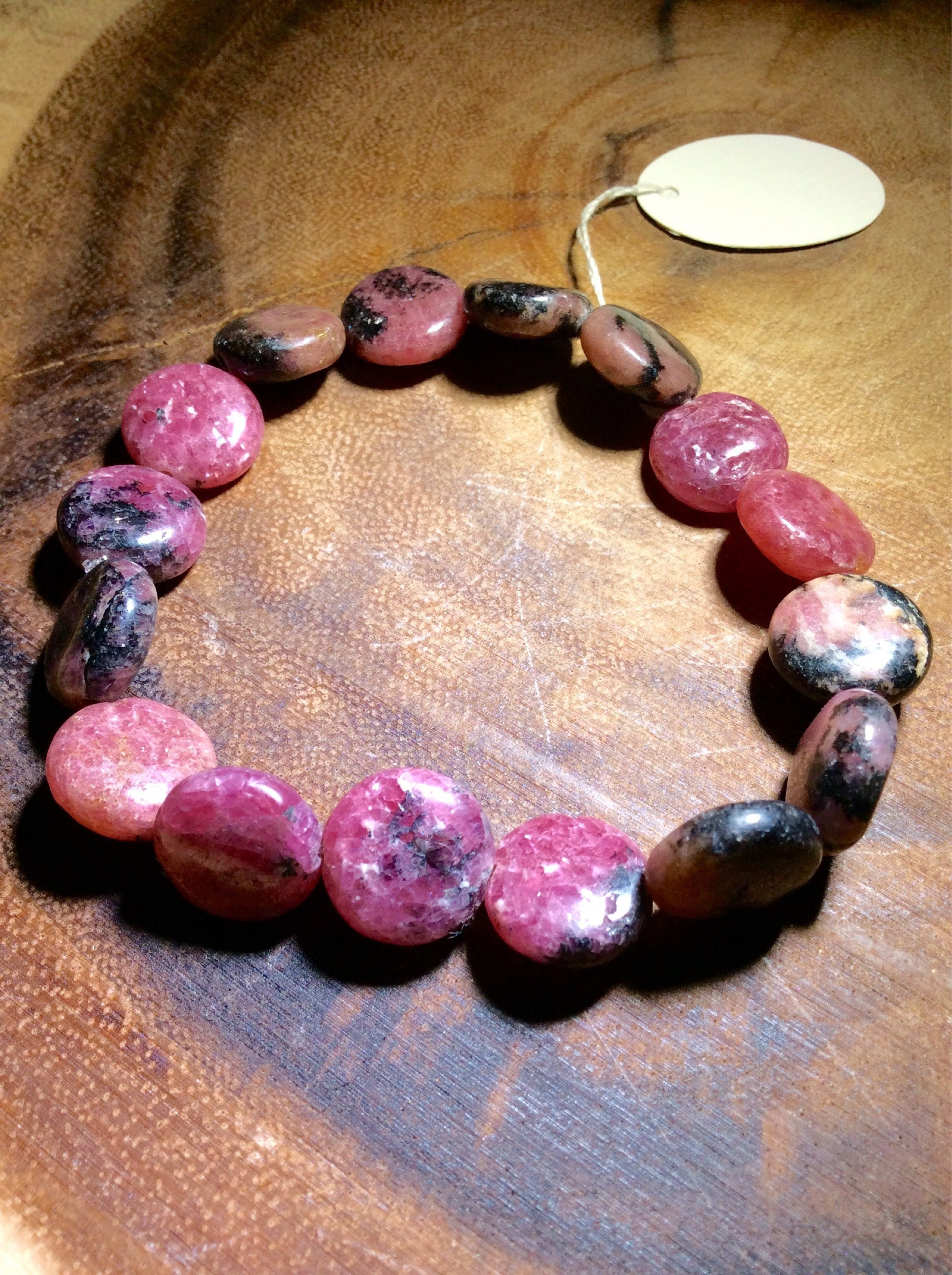 Rhodonite Crystal 7 inch beaded bracelet (Said to give the