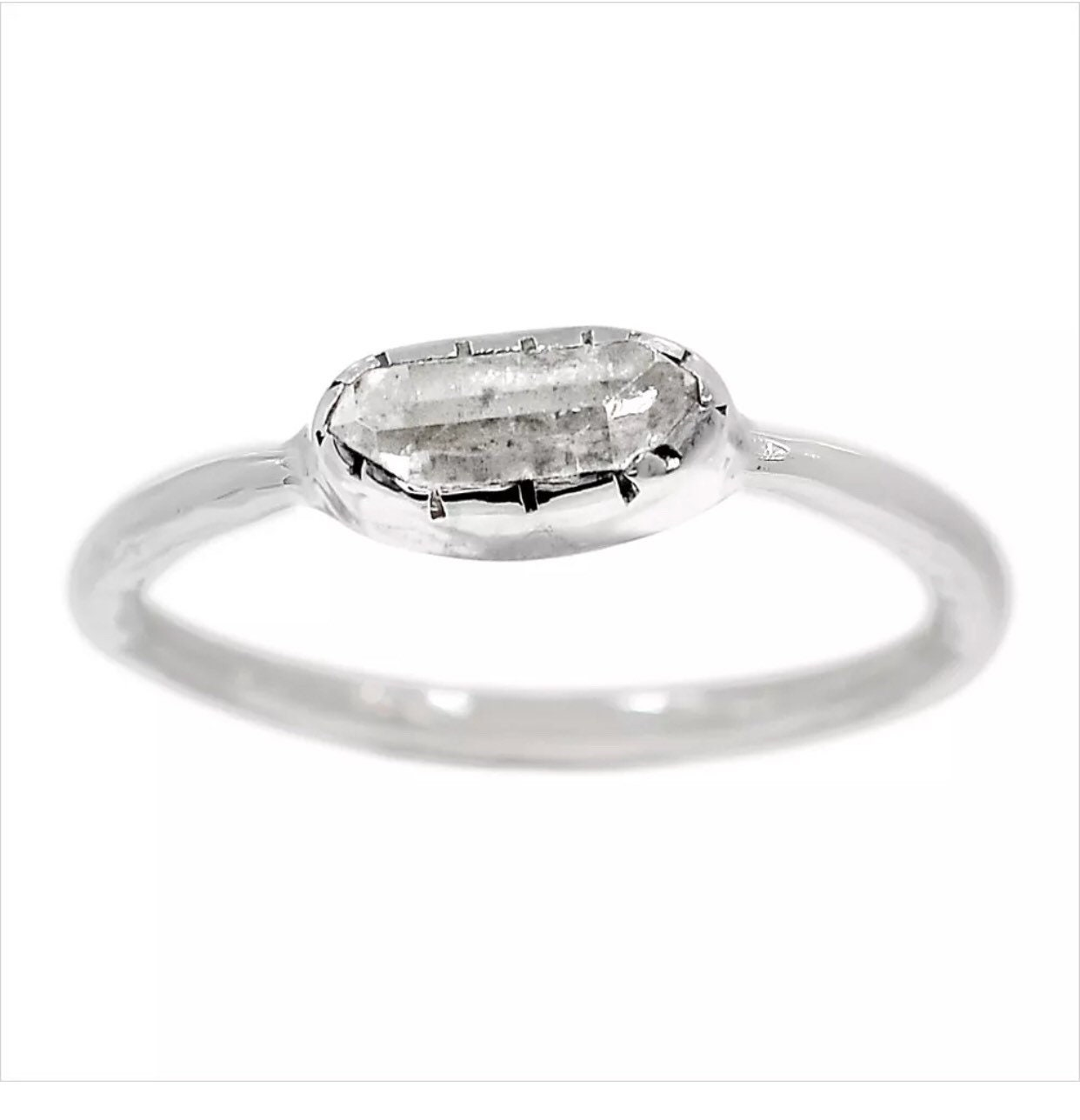 HERKIMER Diamond Bali Style Dainty Ring in 925 Silver SIZE
