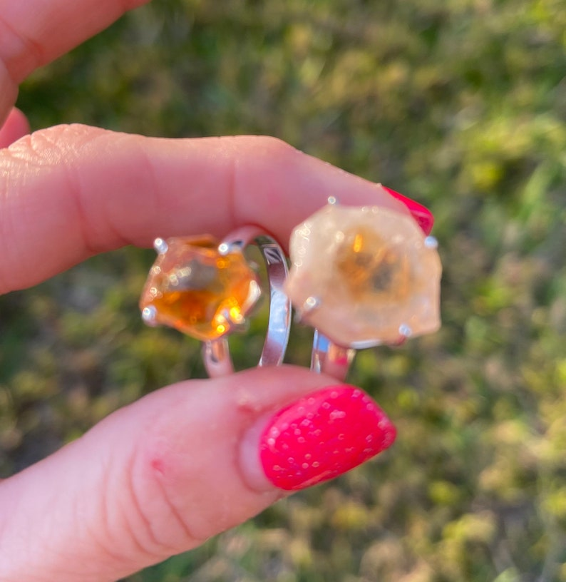 This Healing Crystal can attract Abundance Raw CITRINE Ring Size 6.5 7 7.5 8 8.5 and 9 925 Sterling Silver also Citrine Slices