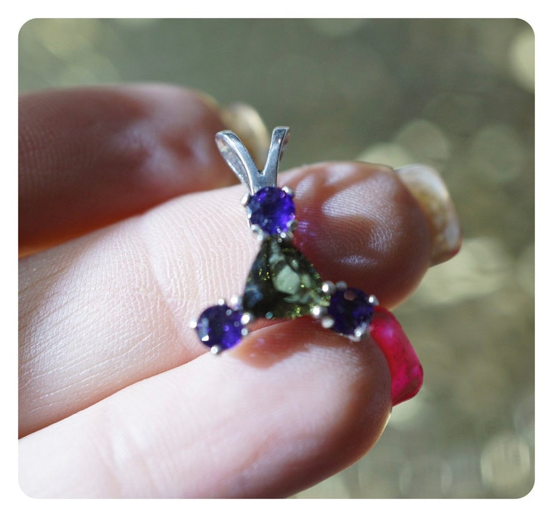 Faceted Moldavite Amethyst Crystal Pendant - green and purple Sterling  Silver Necklace - Tektite Healing Crystal - Arcturian Symbol M727
