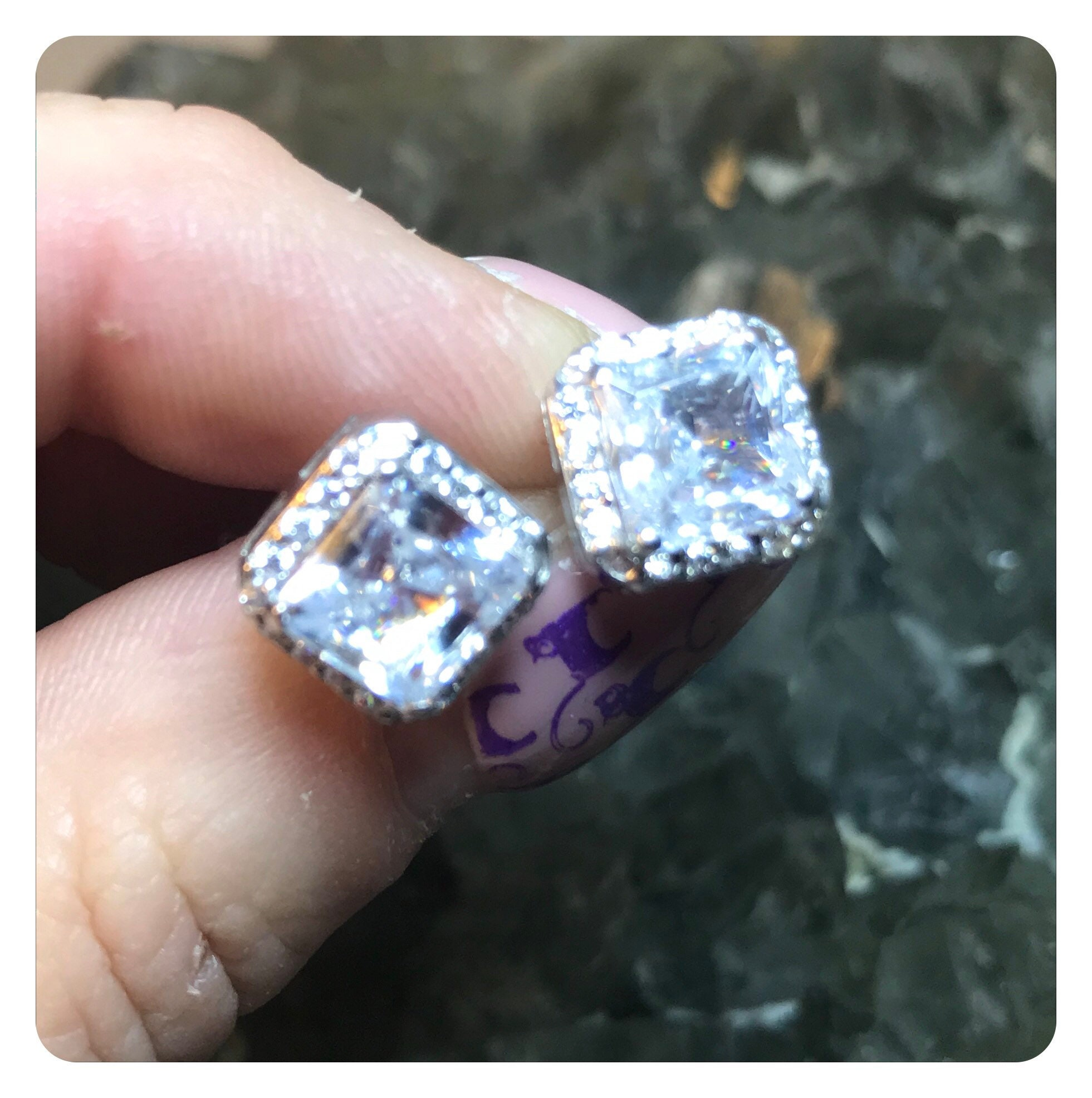 Better Than Diamond >> Faceted Herkimer Diamond Princess Halo Brilliant Cut 3 Tw Carat