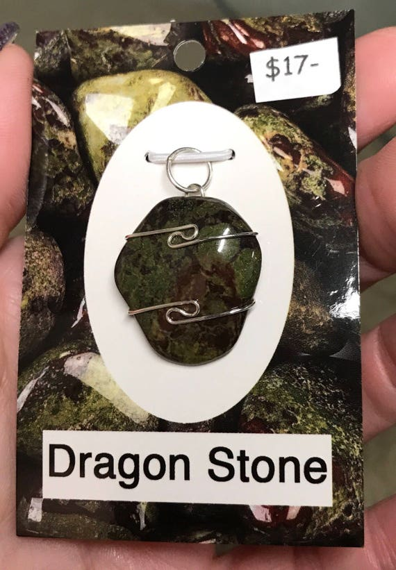 Dragon Stone in 925 Silver Wire Wrap (Said to Increase Prana or life force  energy) dw