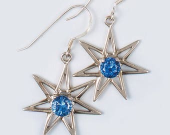 Siberian BLUE QURTZ Pleiadean Star Earrings 6 mm set in 925 Sterling Silver (Said to give Mental Clarity and assist with Memory)dan