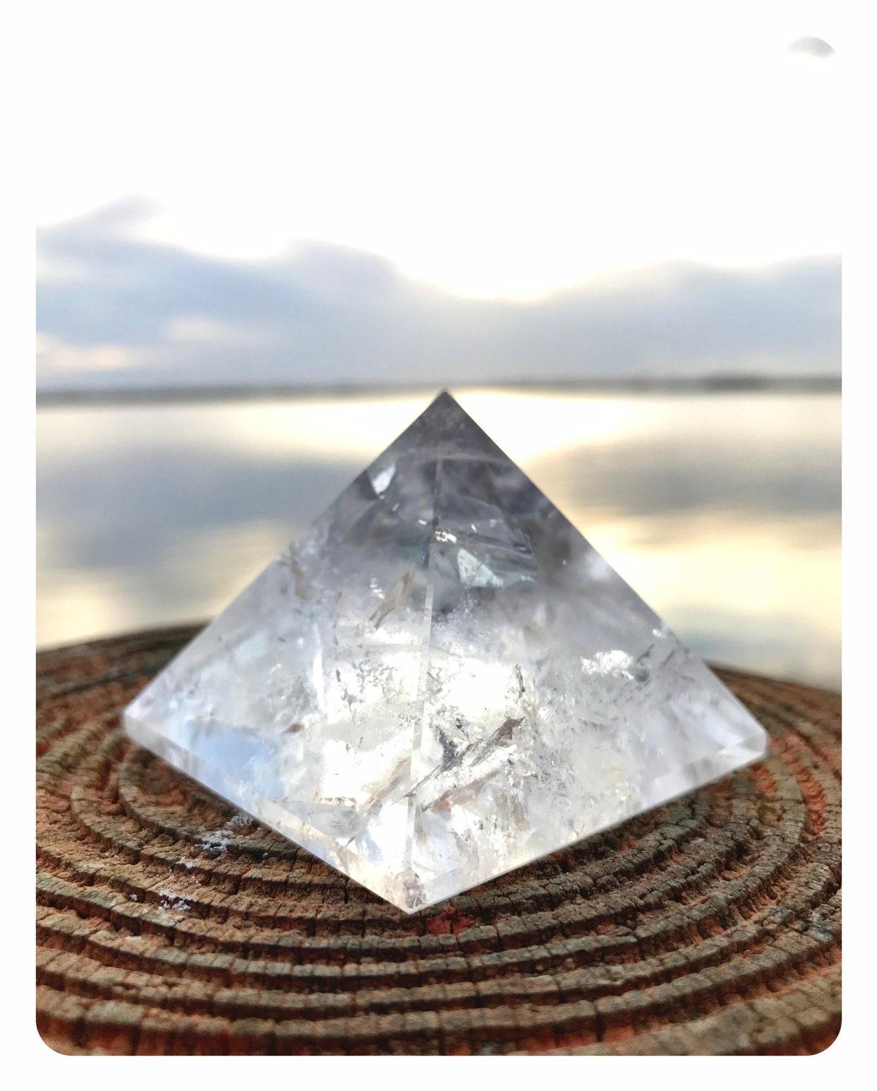 Polished CLEAR QUARTZ Pyramid - 54mm 120 grams - This