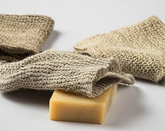 Wild Himalayan Nettle, Hand Knitted Exfoliating Shower Cloth. 100% Natural and Biodegradable.