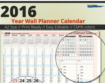 2016 Year Wall Planner Calendar