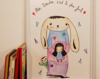 """Illustration Enfant """"Mon Doudou""""/Décoration Chambre/Reprographie et Originale"""