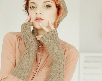 Warmers | Hand Warmers | Arm Warmers | Knit Fingerless Gloves | Gray Gloves | Gray Fingerless Mittens