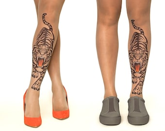 FREE SHIPPING: Tattoo Tights/Pantyhose with Roaring Tiger