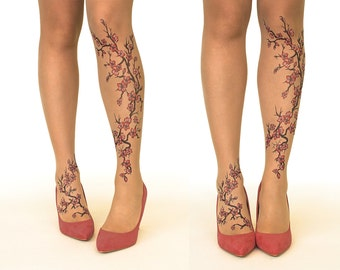 e22b7a9dcb4 Tattoo Tights Pantyhose with Cherry Blossoms