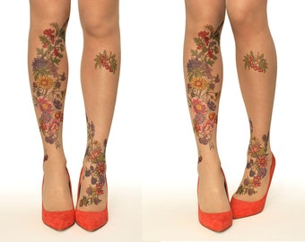 ba411642d6d Tattoo Tights Pantyhose with Summer Garden