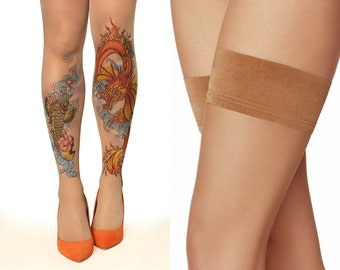 bf091f414bd Tattoo Hold-Ups Thigh Highs Stockings with Koi Fish   Dragon