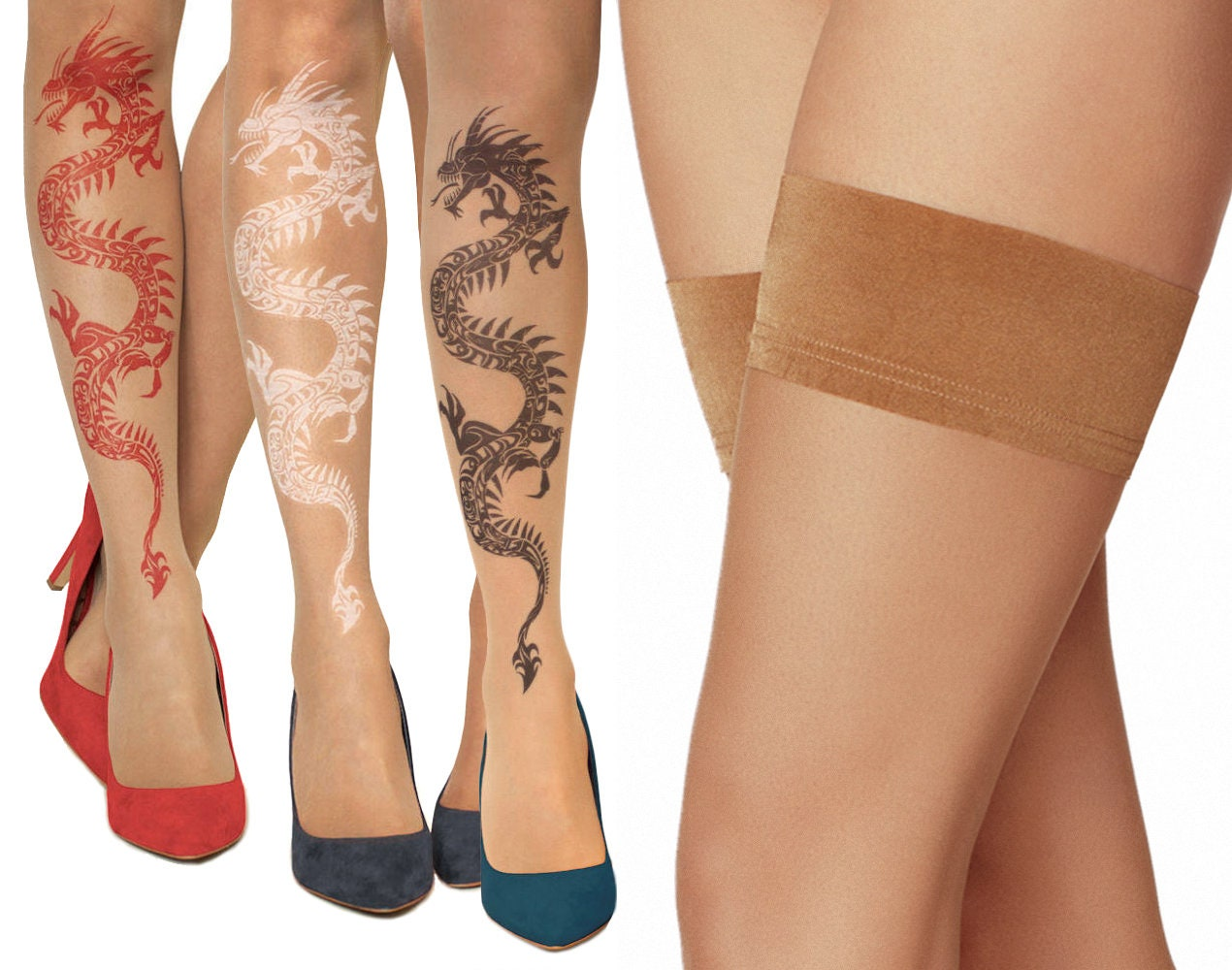 64b1fa80a22 Tattoo Hold-Ups Thigh Highs Stockings with Tribal Dragon