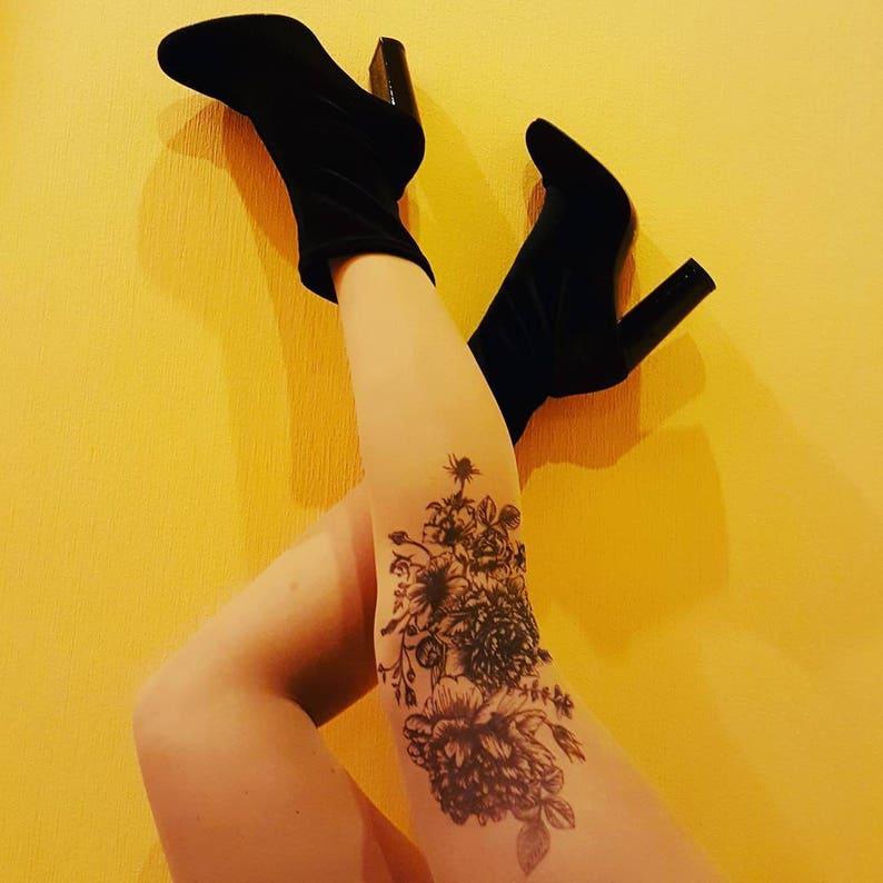 Tattoo TightsPantyhose with Black Garden sizes S-XL