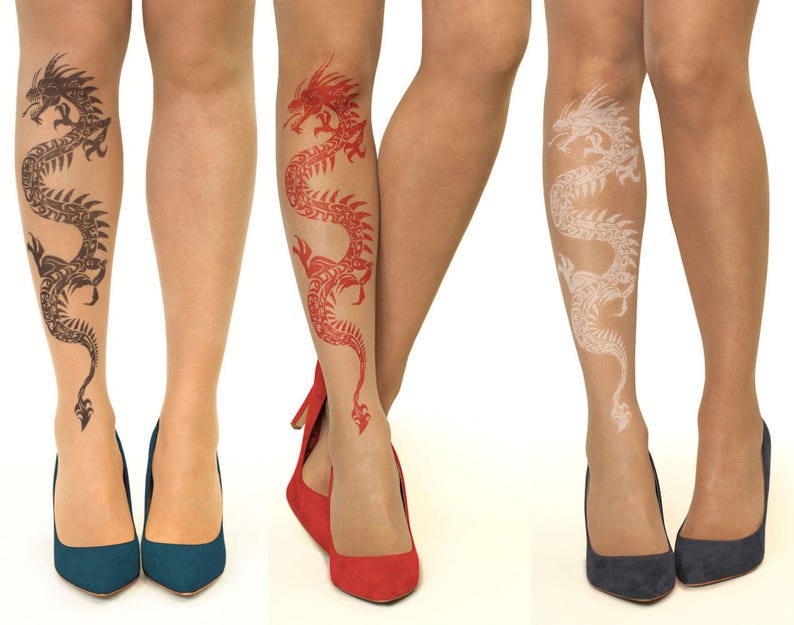 fa2897ffed3 Tattoo Tights Pantyhose with Tribal Dragon sizes S-XL