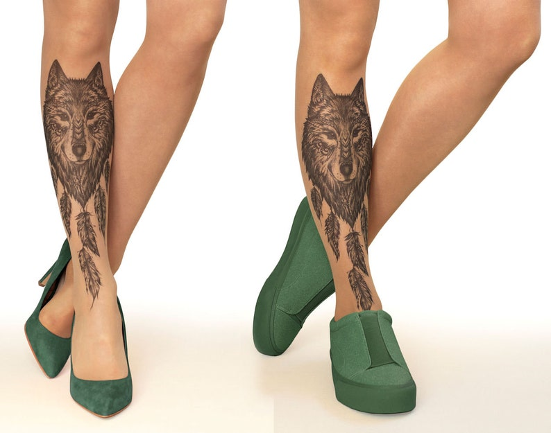 9b63b3149 Tattoo Tights/Pantyhose with Wolf Dreamcatcher sizes S-XL   Etsy