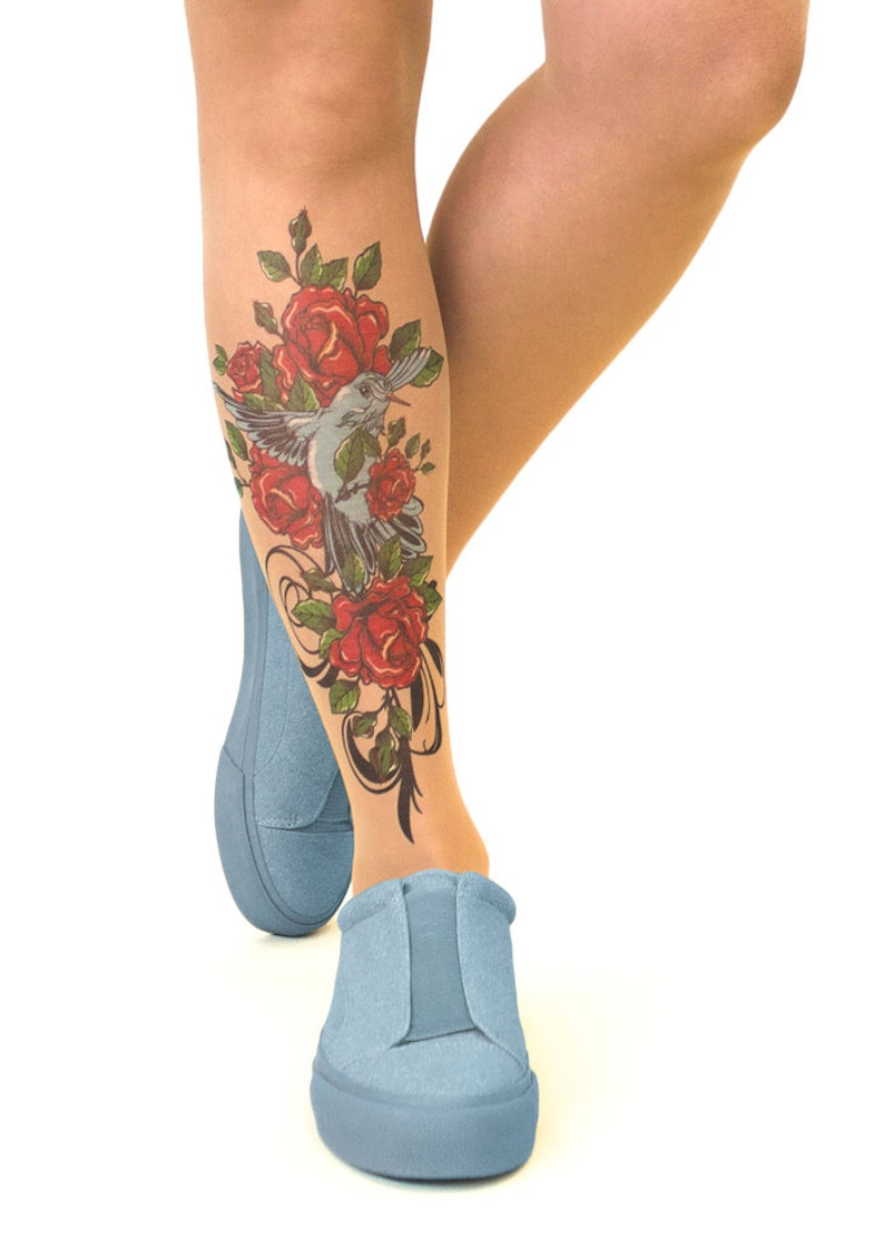 sizes S-XL Tattoo TightsPantyhose with Bird N/' Roses