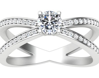 18K White Gold Pathway Natural Diamond ring
