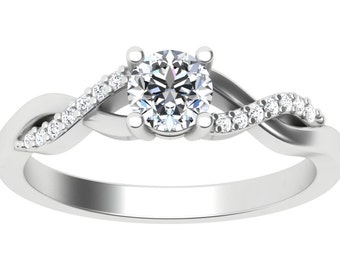 18K White Gold Venus CurveNatural Diamond Ring