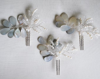 Mother of Pearl and crystal bridal hairpins