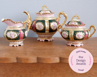 Reserved for Etsy Awards 2020,  Antique Moritz Zdekauer teapot and creamer set, MZ Austria, 1884