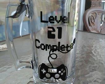 Level 21 Complete Beer Mug Guys 21st Birthday Finally Mens Gamers
