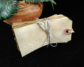 Coffee stained embossed gift tags, wedding tags, birthday tags, vintage, distressed, rustic hang tags.