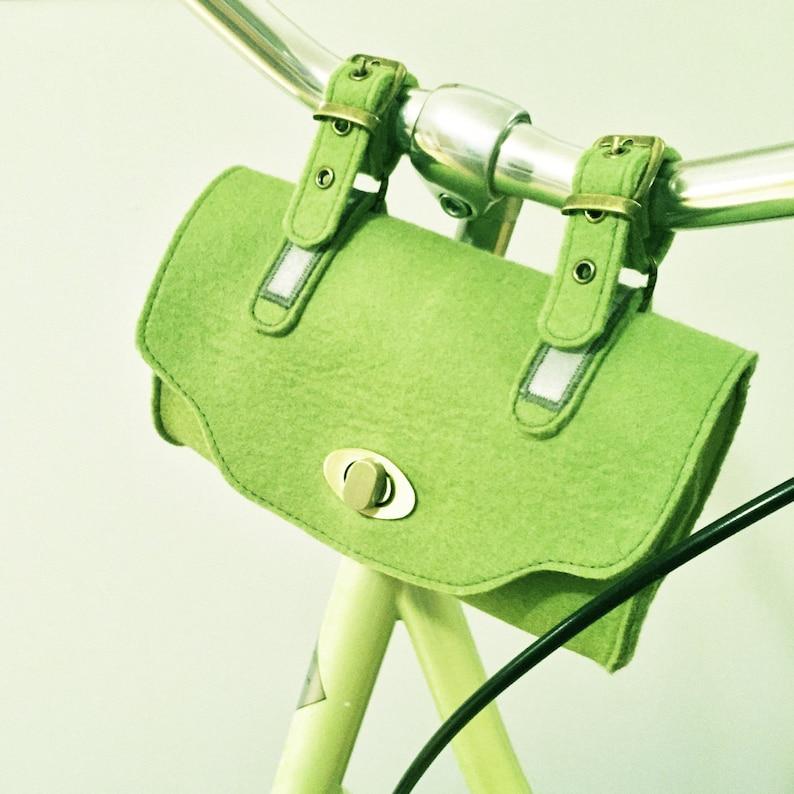 handlebars embroidered Wool Felt bicycle bag anthracite