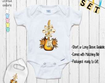 Fathers Gift For Dad My Daddy Rocks Les Paul Strat Guitar Baby Suit Onesie