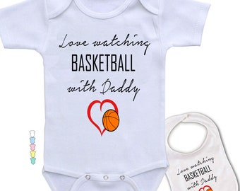 458f9cf36 Love watching Basketball with Daddy - Sports theme, Funny & cute Boutique quality  baby bodysuit one-piece - bib gift Set! Great Shower Gift.