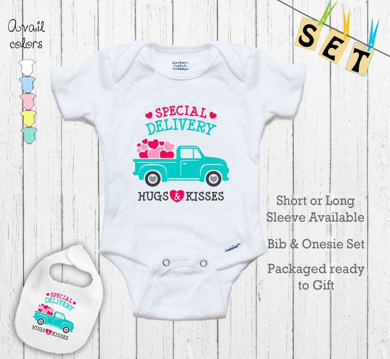 Special Delivery Great Shower Gift outfit Baby Hugs and Kisses Novelty Cute Delivery Truck Shirt Newborn Baby Bodysuit Onesie/& Bib Set