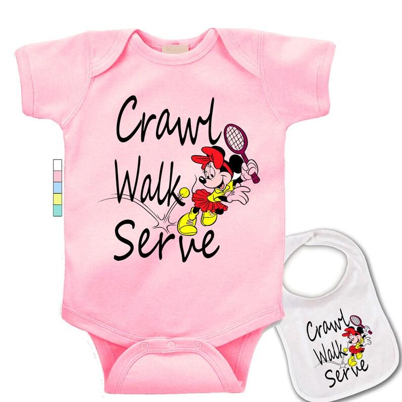 Crawl Baby Bib Tennis funny Walk