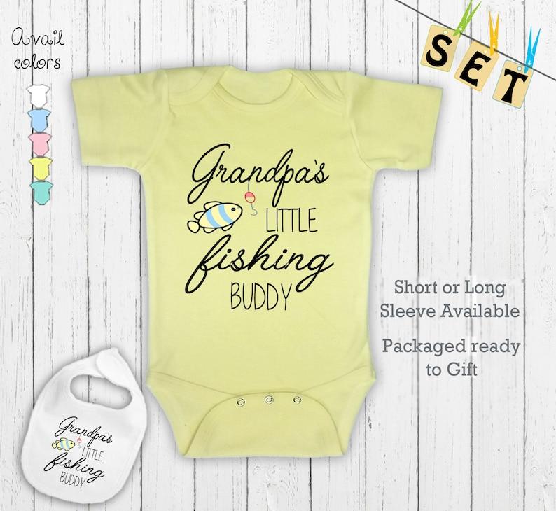 Grandpa/'s Little Fishing buddy Cute Grandfather Funny Novelty Newborn baby Shirt outfit Clothing Bodysuit Onesie /& Matching bib Gift Set