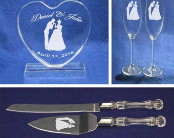 Cinderella Prince Charming Wedding Glasses knife server cake topper set 2 engrave