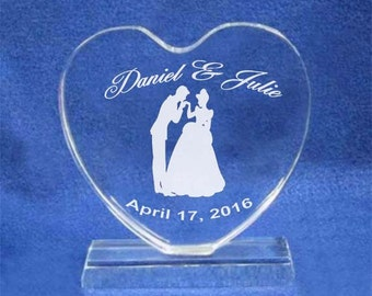 Cinderella Crystal Heart Wedding Cake Topper Engraved NEW
