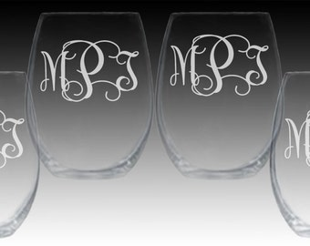 SET OF 4 Stemless Wine Glasses Engraved Personalized Monogram