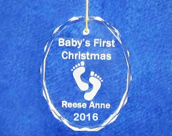 "3"" crystal engraved personalized custom Babies First Christmas ornament FREE SHIPPING 2016"