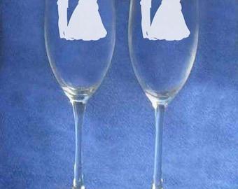 Cinderella Prince Charming Wedding Glasses Personalized